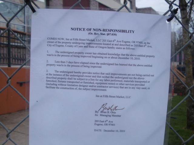 A notice of non-responsibility, signed by Brian Obie