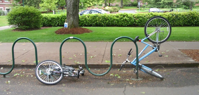 Bikes place oddly in bicycle racks