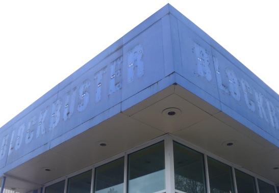 A closed Blockbuster storefront in Eugene Oregon