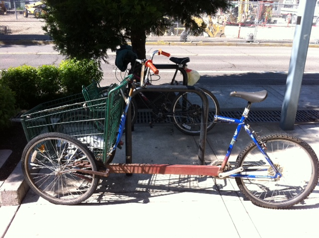 Bicycle made from a grocery store shopping cart