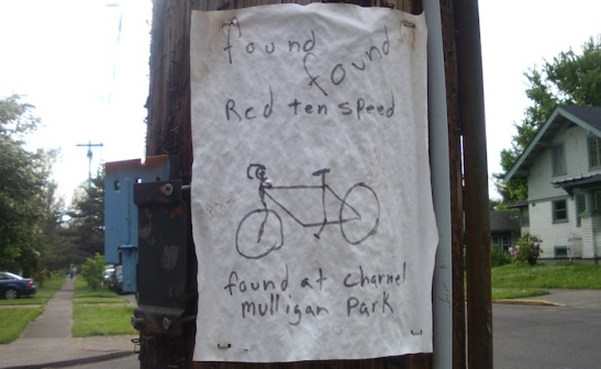 Handdrawn flier for a found bike