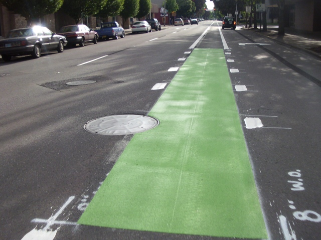 Section of green bike lane in Eugene, Oregon