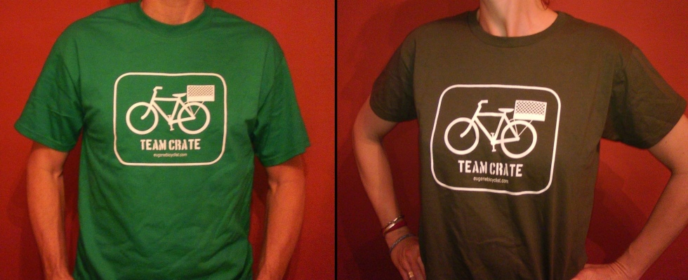 Images of Eugene Bicyclist T-shirts with logo showing icon of a milk crate bike