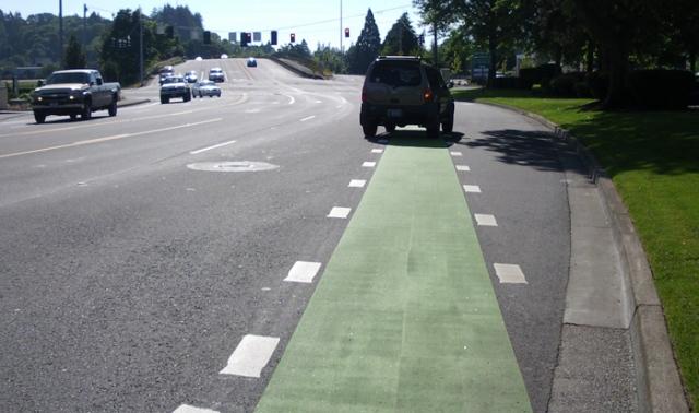 Green bike lane by Valley River Center in Eugene, Oregon
