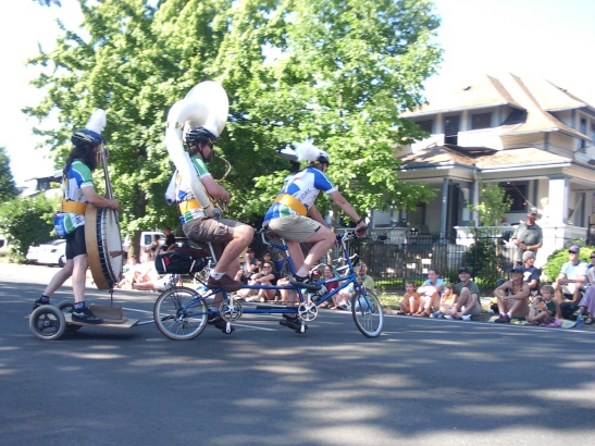 Bike Friday band on tandem bikes entry in Eugene Celebration Parade