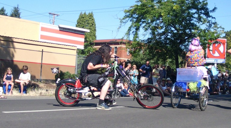 Photo of a bicycle in the Eugene Celebration Parade