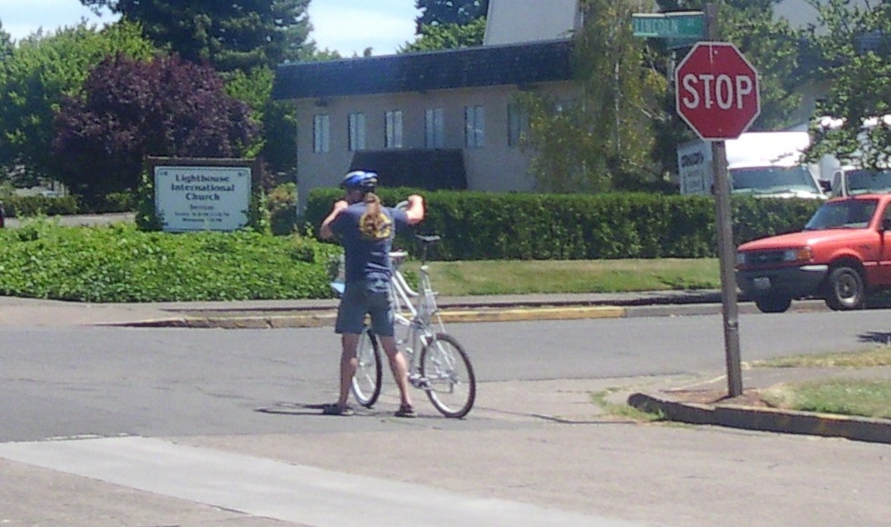 Freak bike at a stop sign