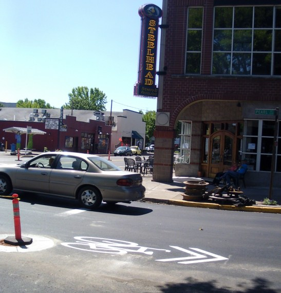 Photo of a new sharrow on Pearl Street in Eugene