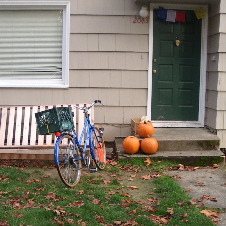 Photo of milk crate bicycle with pumpkins